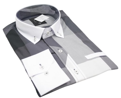 Mens Italian Check Shirt Grey White Collar & Cuff Very Slim Fit Smart or Casual