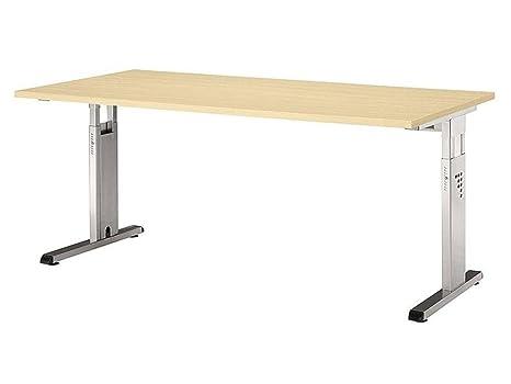 Regulable en altura escritorio O tamaño: 65 - 85 cm H x 180 cm Ancho x 80 cm T, color (tablero): arce, (base) Color: plata