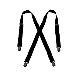 Men's Black, Regular Size - No Slip Hold - Twin Pin Clip Suspenders (up to 48in)