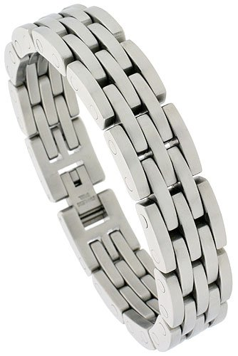 Gent's Stainless Steel Bar Bracelet, 5/8 inch wide, 8 1/2 inch long