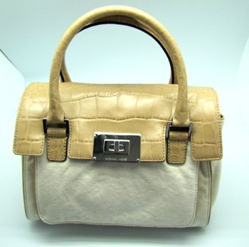 Michael Kors Medium Sloan Shoulder Canvas Satchel Bag Purse Khaki Cream
