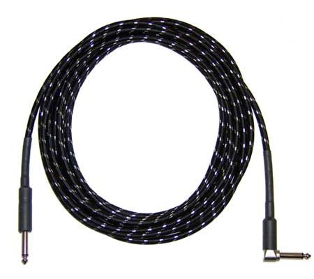 CBI Braided Guitar Instrument Cable with Right Angle Plug 20 Foot (Black)