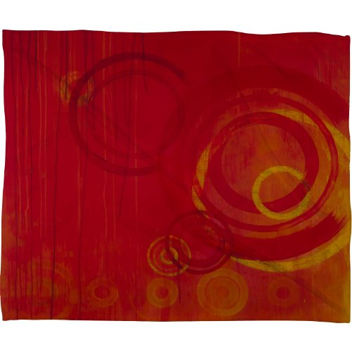 Deny Designs Stacey Schultz Circle World Red Fleece Throw Blanket, 80-Inch By 60-Inch front-911870