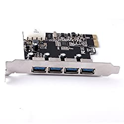 USB 3.0 PCI-E Express ADD-ON Card with 4 Ports and 5V 4-Pin Power Connector for Desktop PC