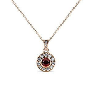 Red Garnet and Diamond Circle Halo Pendant 0.44 ct tw in 14K Rose Gold with 18 Inches 14K Gold Chain