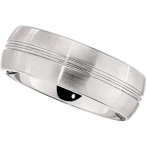 Cobalt Chrome, Double Polished Groove Satin Wedding Band (sz 10.5)