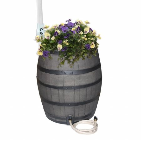 Emsco-Group-2244-1-Whiskey-Barrel-Flat-Sided-Rainwater-Urn-Gray