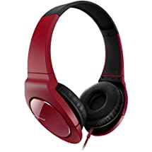 Pioneer SE-MJ721-R Fully Enclosed Dynamic Headphones with Powerful Bass - Red