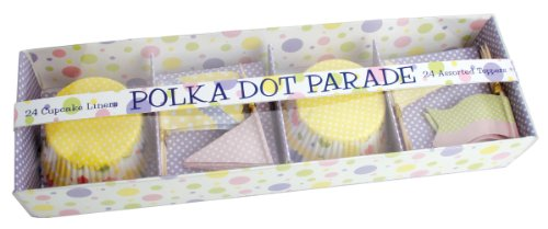 Party Partners Design Polka Dot Parade Themed Cupcake Kit with Baking Cups and Toppers, Multicolored, 24 Count