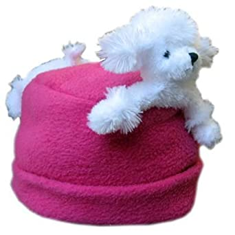 Bear Hands Fleece Buddy Hat White Poodle on Fuchsia Small