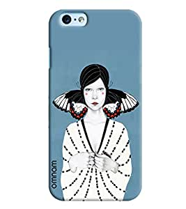 Omnam White Girl Standing On Blue Background Printed Designer Back Cover Case For Apple iPhone 6 Plus