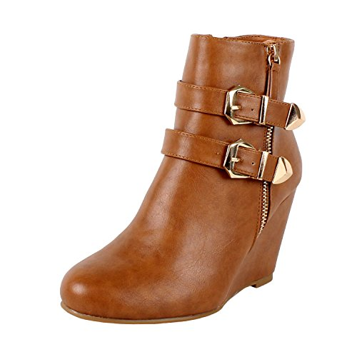 West Blvd Amman Ankle Wedges Boots, Tan Pu, 7.5