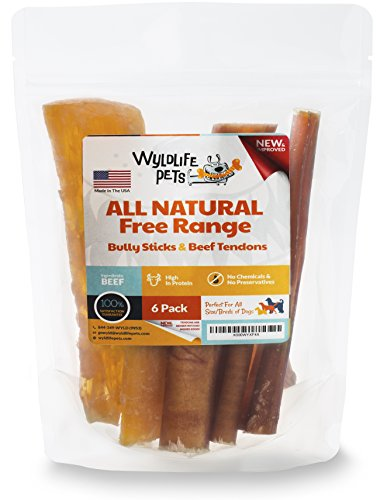 wyldlife pets bully sticks beef tendons for dogs combo pack 100 natural and free range 6 pack. Black Bedroom Furniture Sets. Home Design Ideas