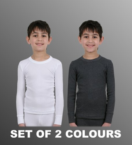 Set Of 2 Boys Thermal Underwear Long Sleeve Vest 1 White & 1 Charcoal, Various Sizes [Thermals]