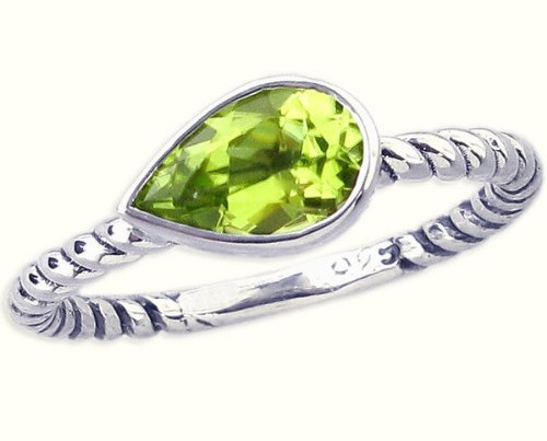 Twisted Sterling Silver Stackable Ring with East-West Medium Pear Genuine Gemstone-in Peridot-in full,half,quarter sizes from 3.5 to 12_11.25