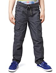 Pure Cotton Ribbed Waistband Cargo Trousers