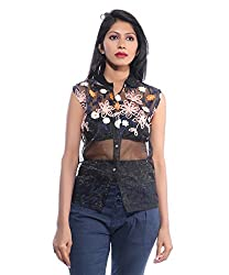 Avakasa Polyester Black Floral Partywear Sleeveless Sleeves Top (top-30-black)