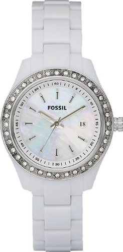 Fossil Women's ES2437 White Resin Bracelet White Mother-Of-Pearl Glitz Analog Dial Watch