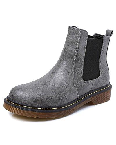 Minetom Donna Autunno Inverno Scarpe da Moda Stivaletti Scarponcini Chelsea Low boots Stivali Cavaliere Grigio EU 41