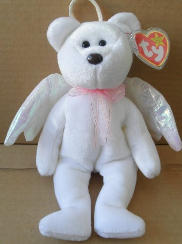 TY Beanie Babies Halo Angel Bear Stuffed Animal Plush Toy - 8 1/2 inches tall - White with Wings and Scarf - 1