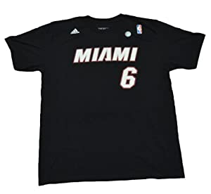 NBA Adidas Miami Heat Textured Logo Black the Go to T-shirt Lebron James #6 (Large 42/44)