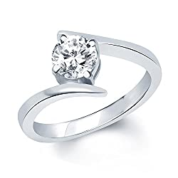 V. K. Jewels Rhodium Plated Solitare Ring For Women - Fr1028R Size 10 [Vkfr1028R10]
