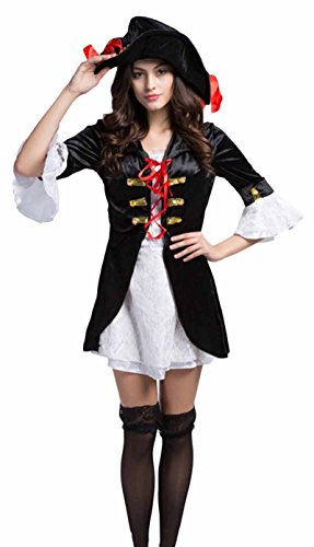 JustinCostume Women Adult Pirate Hat Coat Dress Cosplay Outfits Halloween Costumes