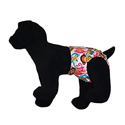Barkerwear Dog Diaper - Happy Monkey Washable Cover-up / Diaper for Incontinence, Housetraining and Dogs in Heat