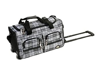 Rockland Luggage 22 Inch Rolling Duffle Bag, Black Cross Plaid, One Size
