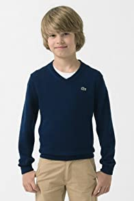Boy's Long Sleeve Cotton V-Neck Sweater