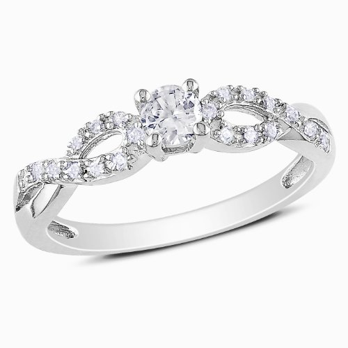 Sterling Silver Created White Sapphire and Diamond Fashion Ring (.1 Cttw, G-H Color, I2-I3 Clarity), Size 7
