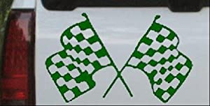 Dark Green 4.6in X 7.5in -- Racing Flags Moto Sports Car Window Wall Laptop Decal Sticker