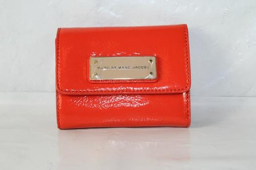 Marc By Marc Jacobs Marc Jacobs Too Hot To Handle Patent Billfold Wallet in Vibrant Orange Multi