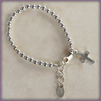 Girls Gabriel Bracelet, Strand of sterling silver beads accented with a beautiful dainty sterling silver cross charm! A gorgeous classic she will cherish forever! Size Small 0-12 Months, Adjustable 4-4.5 inches, Baby Infant Bracelet