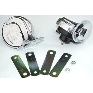 Klaxon / fanfare, 12V 110 dB, 8,4 cm, deux tons, chrome et homologué! 41oXO5bblvL._SL500_AA300_