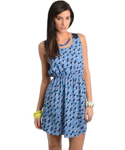 2Luv Women'S Geometric Sheer Back Panel Dress Blue L(D8952)