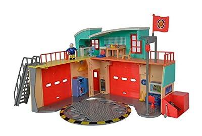 Simba 109258282 - Feuerwehrmann Sam Neue Feuerwehrstation mit Steele Figur / Zum Aufklappen / Drehscheibe für Jupiter / Mit Licht und Sound / 41x33cm / 2 Tore zum Öffnen