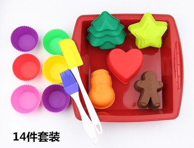 Christmas Baking Tool Kit Cartoon Cake Mold Baking Mold 14 Packages For Microwave Oven