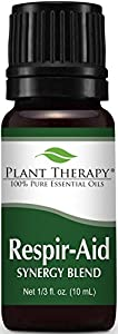 Plant Therapy Respir-Aid Synergy Essential Oil Blend. 100% Pure, Undiluted, Therapeutic Grade. Blend of: Eucalyptus, Pine, Peppermint, Lavender, Spruce, Marjoram and Cypress. 10 mL (1/3 Ounce)