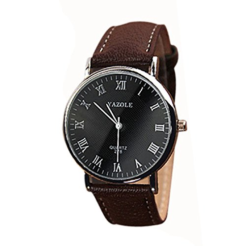 Sandistore Luxury Leather Mens Quartz Analog Watch Brown
