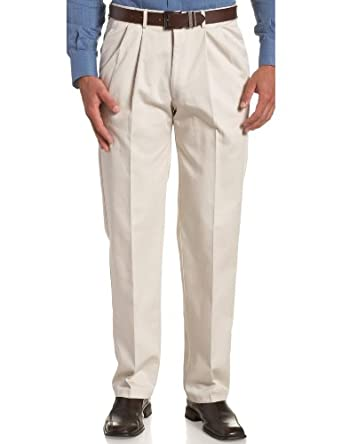 Haggar Men's Work To Weekend  Hidden Expandable Waist No Iron Twill Pleat Front Pant,String,30x30