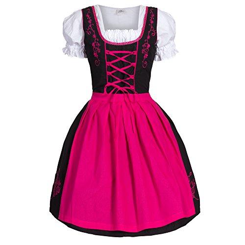 Dirndl 3 tlg.Trachtenkleid Kleid, Bluse, Schürze, Gr. 34-52 schwarz pink thumbnail