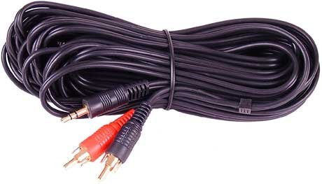 3.5mm Jack to 2 x RCA Phono Audio Cable Gold 10m Lead