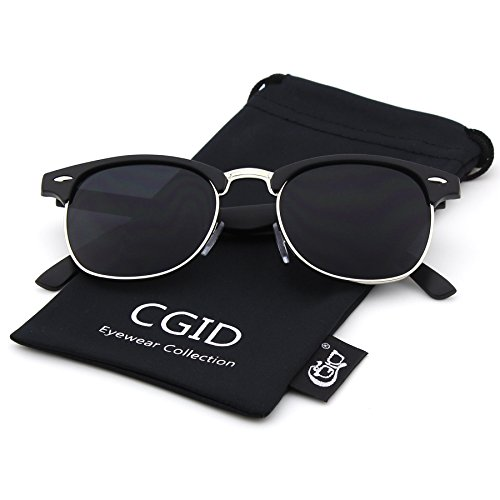 CGID Clubmaster Premium Classic Inspired Half Frame Horn Semi-Rimless Rimmed Sunglasses with Metal Rivets,Matte Black-Gray (Half Rimmed Sunglasses For Women compare prices)