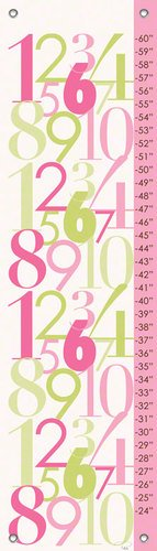Oopsy Daisy Modern Numbers Pink and Green Growth Chart by Patchi Cancado, 12 by 42-Inch
