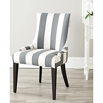 Safavieh Mercer Collection Eva and White Striped Dining Chair with Trim Nail Head, Grey