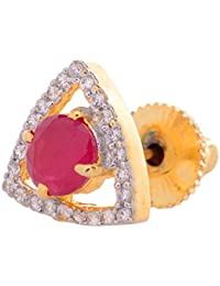 Gehnamart Yellow Gold Plated Ruby And American Diamond Designer Stud Earring - B01B4L648U