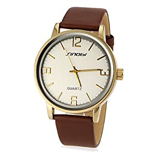 Men's Simple Round Dial PU Band Quartz Analog Wrist Watch (Assorted Color) ( Color : Gold )