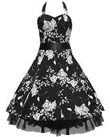 50's Floral Dress Halterneck White & Black or Black & White
