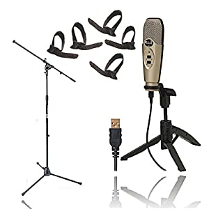 CAD Audio U37 USB Studio Condenser Vocal,Instrument & Recording Microphone With On Stage MS7701B Tripod Boom Microphone Stand + Cable Ties